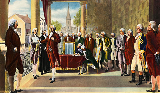 George Washington being inaugurated as President of the United States