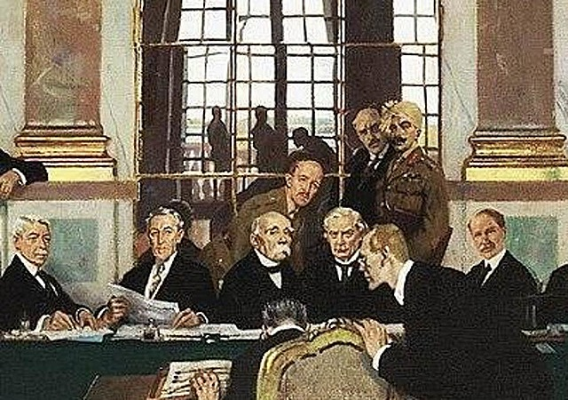 The Treaty of Versailles becoming signed, ending World War I
