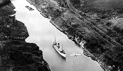 The Panama Canal opens for business.