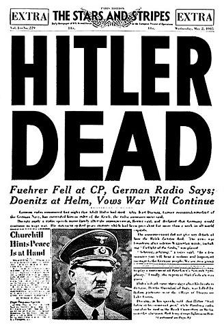Hitler commits suicide in his Berlin bunker.