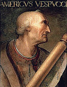 Amerigo Vespucci returns from his explorations of the New World. American continents named after him by German mapmaker