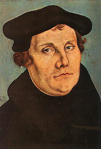 Martin Luther spikar upp 95 teser på kyrkporten i Wittenberg