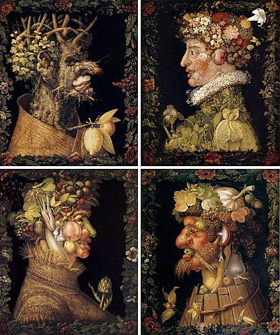 """Prof - Le cadre / Giuseppe Arcimboldo: """"Les Saisons"""" (Série de quatre tableaux peints en 1563, en 1569, en 1572 et en 1573. Peinture à l'huile sur chêne. 76,5 × 64 cm. Musée du Louvre, Paris)"""