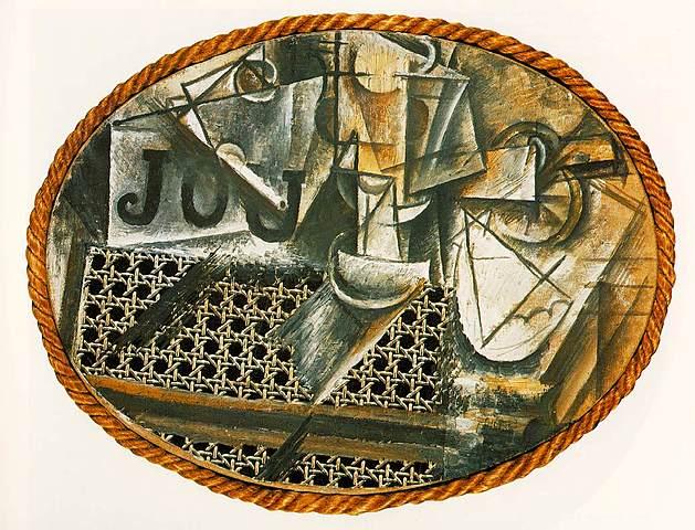 """Prof - Le cadre / Pablo Picasso: """"Nature morte à la chaise cannée"""" (Huile et toile cirée sur toile encadrée de corde, Musée national Picasso, Paris)"""