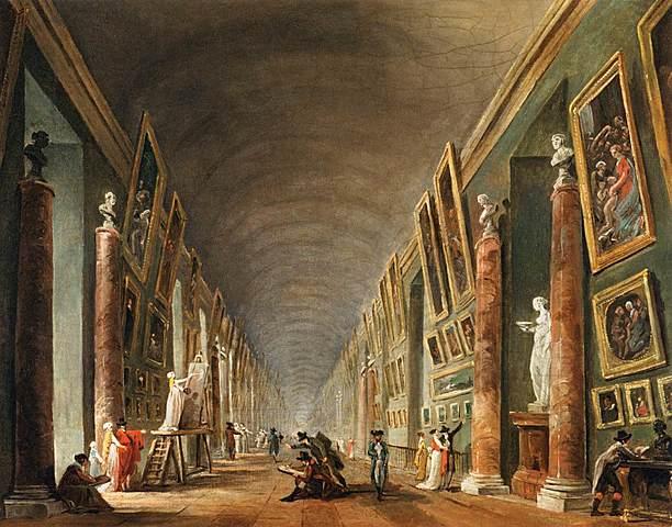 Prof - La cimaise / Hubert Robert: «La Grande Galerie» (Peinture à l'huile sur toile, 37 x 46 cm, Musée du Louvre)
