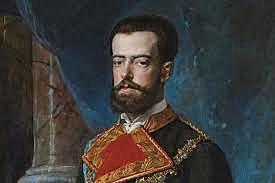 Isabel II abdica a favor del seu fill Alfons Amadeu de Savoia, rei d'Espanya