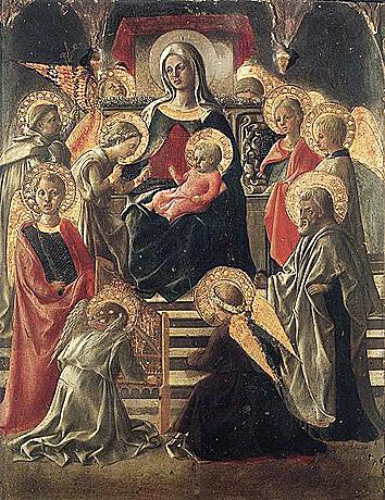 La Virgen y el Niño con ángeles y Santos - Filippo Lippi