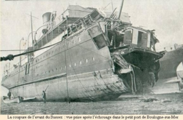 French passenger ship Sussex is sunk
