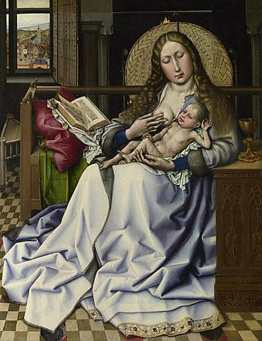 La virgen y el niño frente a una chimenea - Maestro de Flemalle
