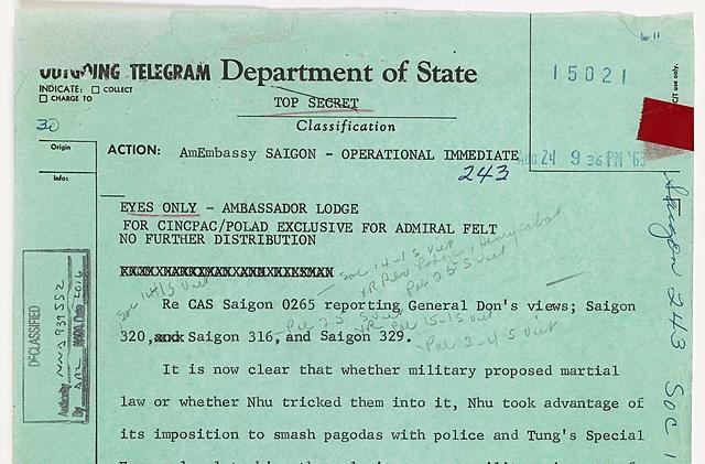 Cable 243 Sent to Ambassador Lodge