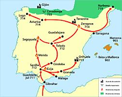 La conquesta musulmana de la península ibèrica.