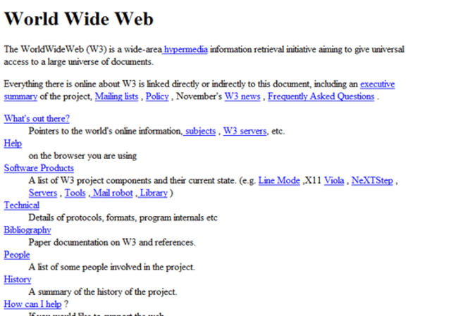 The First Web Page World Wide Web