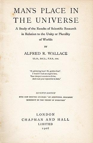 Wallace publica el ensayo: Man's Place in the Universe.