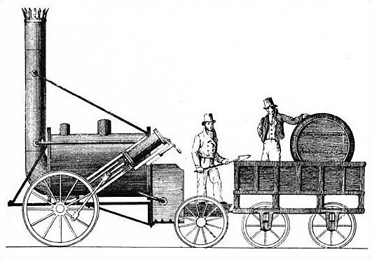 Stephenson's Rocket hauls the first train on the Manchester to Liverpool Railway Line