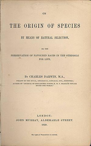 """Publicación de """"El origen de las especies"""""""