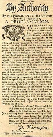 Washington's Neutrality Proclamation