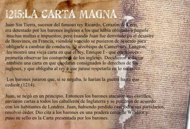 CARTA MAGNA INGLATERRA 1215