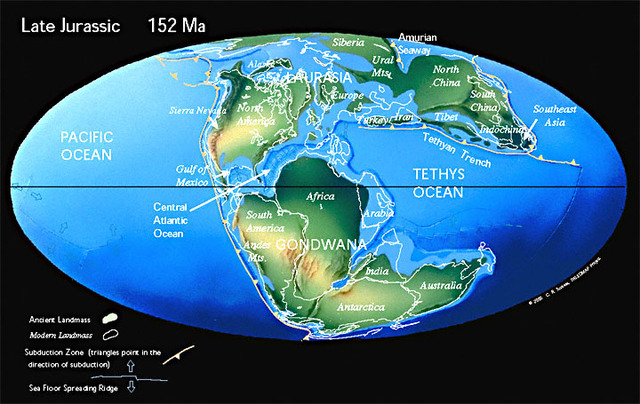North America separates from Africa