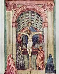 Trinidad o la Sagrada Trinidad con la Virgen, San Juan y donantes. Masaccio.. Quattrocento