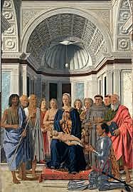 Madonna del duque de Urbino o La Sacra Conversación. Piero della Fracesca. Quattocento.
