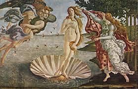 El Nacimiento de Venus. Sandro Boticelli. Quattrocento.