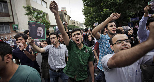 Protests in Iran following the presidential election.