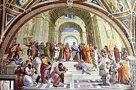 La escuela de Atenas. Rafael Sanzio. Cinquecento.