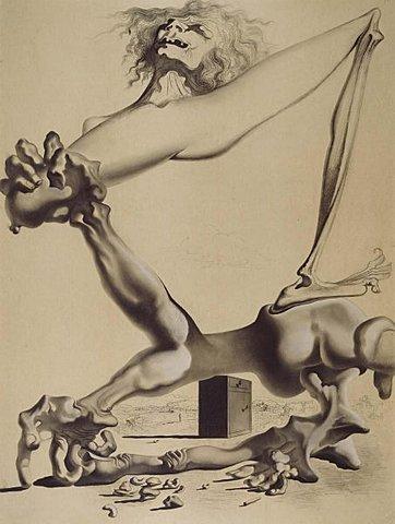 Dibujo Premonición de la guerra civil, Dalí