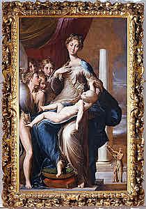 La Madonna del cuello largo. Parmigianino. Cinquecento.