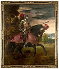 Retrato ecuestre de Calos V en la Batalla de Mülhberg. Tiziano. Pintura Veneciana.