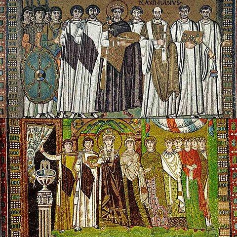 Mosaicos de Justiniano  y Teodora en San Vital (Rávena)