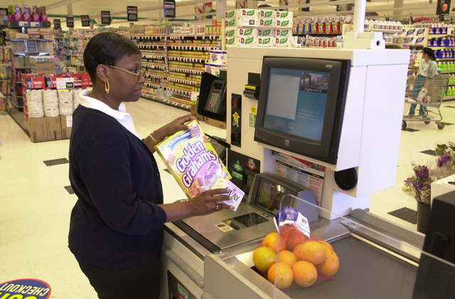 Computerized Supermarket checkouts begin to appear
