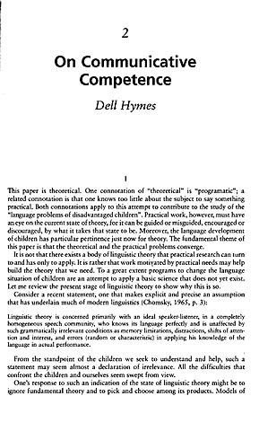 Hymes critiques the Chomsky's theory on language behavior.
