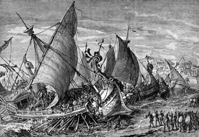 Greek Ships land on the Trojan Shore