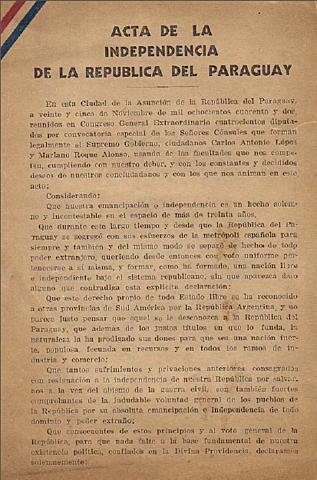 Proclamació de la independència de paraguai