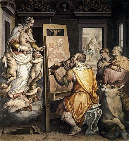 San Lucas pintando a la Virgen; Vasari
