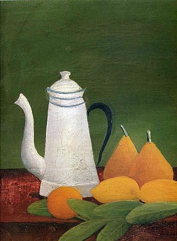 Todavía vida con la tetera y la fruta, Rousseau