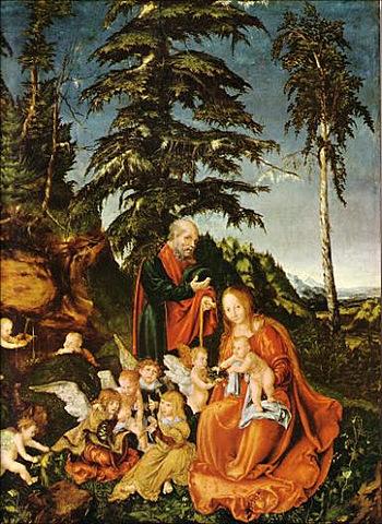 """Descanso en la Huida a Egipto (Lucas Cranach """"El Viejo"""")"""