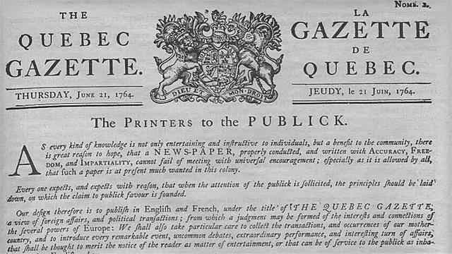 1ère publication du premier journal, la Gazette de Québec