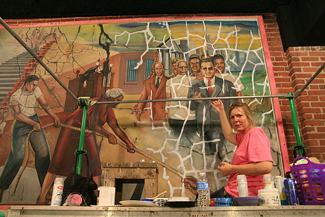 1949 Clarence Laudric Shivers completes 'the pursuit of freedom' mural