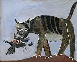 """GUILLIEZ Manon, façon de présenter / Pablo Picasso, """"chat saisissant un oiseau"""", huile sur toile, taille : 81x100cm, musée national à Paris"""