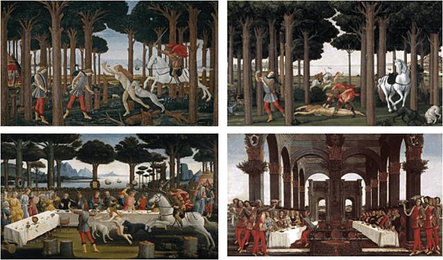 """Quattrocento italiano. Sandro Boticelli, """"La historia de Nastagio degli Onesti"""" (1483)."""