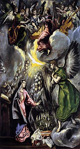 """Manierismo. El Greco, """"La Anunciación"""" (1596-1600)."""