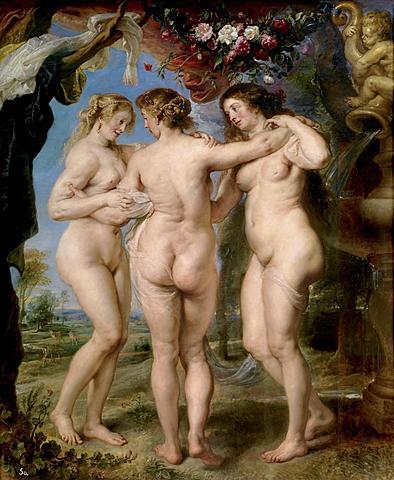 """Barroco. Rubens, """"Las Tres Gracias"""" (ca. 1635)."""