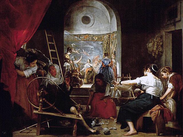 """Barroco español. Velázquez, """"Las hilanderas o La fábula de Aracne"""" (1655-1660)."""