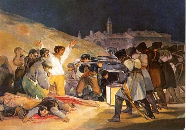 """Romanticismo. Goya """"El tres de Mayo en Madrid"""" o """"Los fusilamientos"""" (1814)."""