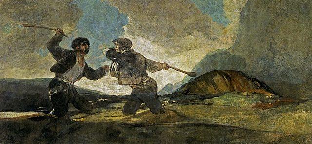 """Romanticismo. Goya, """"Duelo a garrotazos"""" (1820-1823)."""