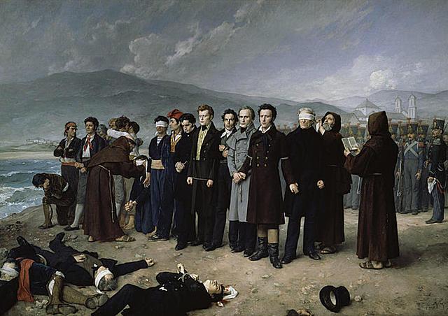 """Realismo - Antonio Hisbert, """"Fusilamiento de Torrijos y sus compañeros en las playas de Málaga"""" (1888)."""