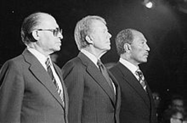 Jimmy Carter negotiates the Camp David Accords to promote peace in the Middle East