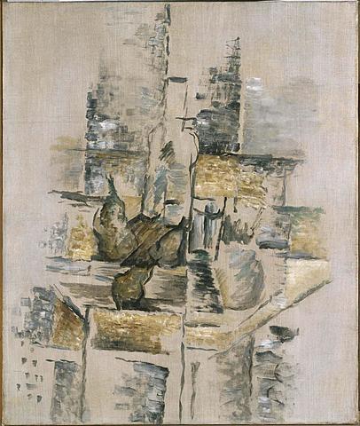 """Cubismo analítico. Braque """"Bouteille et fruits"""" (1911)."""
